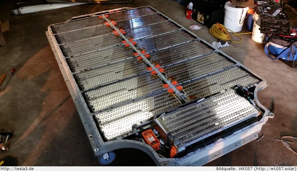 Tesla Model 3 - Aufbau des Akkupack beim Model S